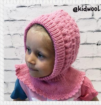 """Тёплая шапка шлем """"Малинка"""" ручной работы на заказ"""