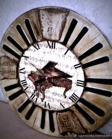 """Часы настенные """"Старый Рояль"""" ручной работы на заказ"""