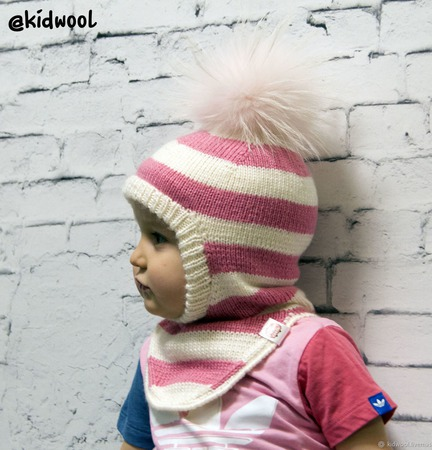 """Шапка шлем """"Розовые мечты"""" детская ручной работы на заказ"""