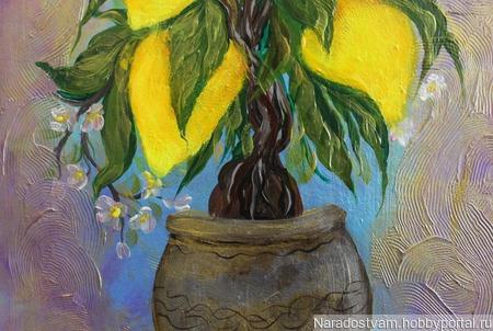 """Картина акрилом """"Лимонное дерево"""" ручной работы на заказ"""
