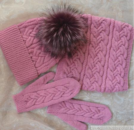 Комплект шапка снуд варежки ручной работы на заказ