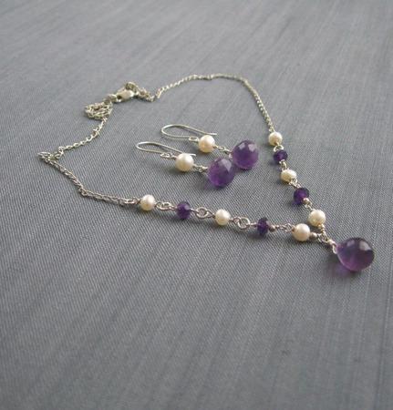 """Комплект """"Wild orchid"""" из серебра с аметистами и жемчугом ручной работы на заказ"""