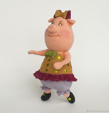 """Описание вязания """"Свинка Мисс Грюня"""" ручной работы на заказ"""