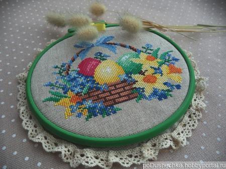 Картина круглая в пяльцах, пасхальный подарок, пасхальный декор, вышивка. ручной работы на заказ