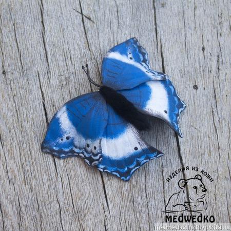 """Брошь из кожи """"Бабочка Саламис Темора"""" ручной работы на заказ"""
