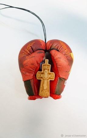 Перчатки Боксерские, сувенир, логотип,  подарок мужчине ручной работы на заказ
