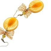 Серьги Осенний мед, из меди и ювелирной смолы, для девушки/  желтые