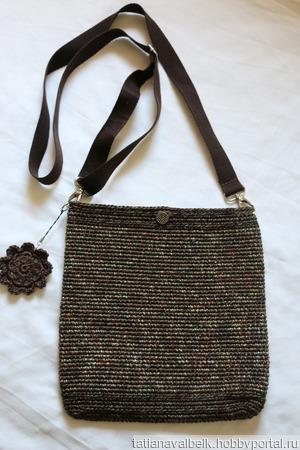 "Вязаная сумка сумочка ""Милитари -гламур 2"" с цветком ручной работы на заказ"