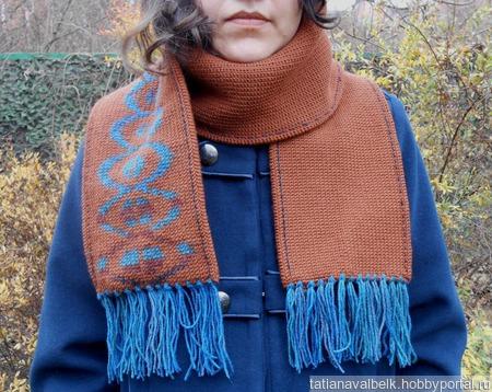Вязаный шарф теплый плотный коричневый с орнаментом ручной работы на заказ