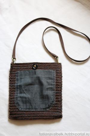 Вязаная сумка сумочка с джинсовым карманом ручной работы на заказ