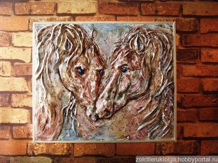 """""""Портрет двух лошадей"""" ручной работы на заказ"""