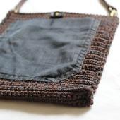 Вязаная сумка сумочка с джинсовым карманом