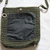 Вязаная сумка сумочка на длиной ручке