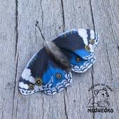 Брошь из кожи Бабочка Blue Pansy-4