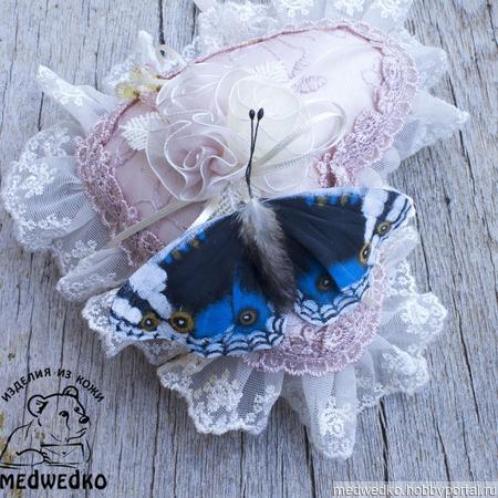 Брошь из кожи Бабочка Blue Pansy-4 ручной работы на заказ