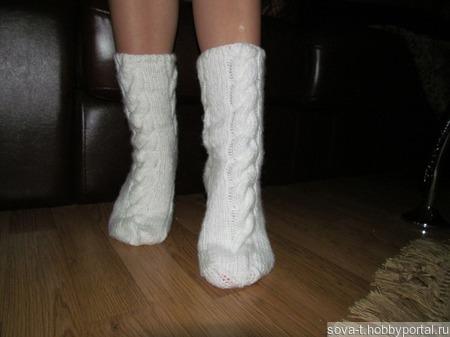 """От 35 р. до 45 р. Носочки домашние """"Белые и пушистые"""" ручной работы на заказ"""