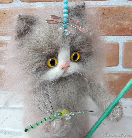 """Кот вязаный """" Чтобы лето не кончалось..."""" ручной работы на заказ"""