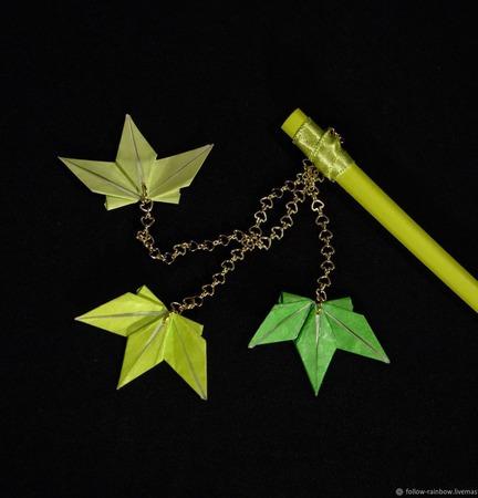 Шпильки-палочки для волос с кленовыми листьями ручной работы на заказ