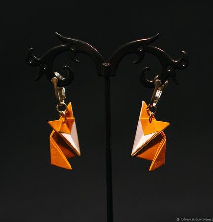 """Комплект украшений серьги/клипсы + кулон-подвеска """"Лисички"""" ручной работы на заказ"""