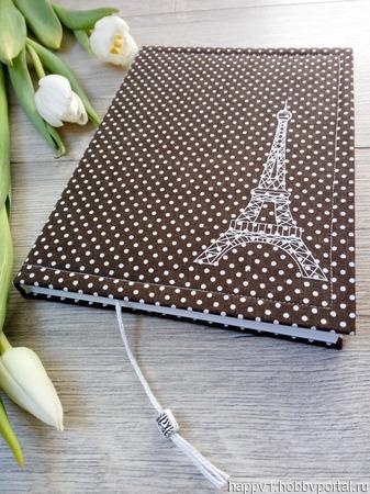 """Блокнот """"Париж"""" коричневый ручной работы на заказ"""