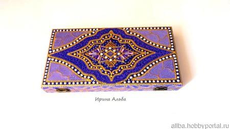 Купюрница-шкатулка Аметист точечная роспись ручной работы на заказ