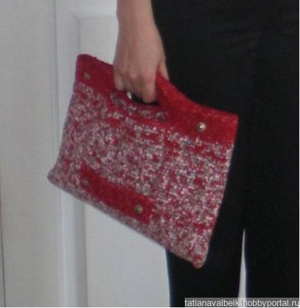 Вязаная сумка сумочка клатч плоская ручной работы на заказ
