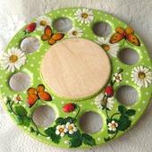 Подставка для яиц и кулича Ромашки и клубника