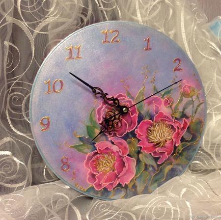 """Настенные интерьерные часы """"Шелковый букет"""" (1) ручной работы на заказ"""
