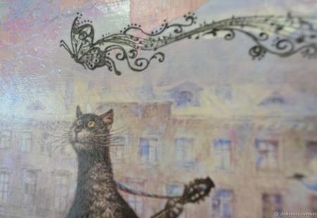 """Интерьерное панно """"Музыкальный кот"""" Вариант 1 ручной работы на заказ"""