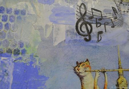 """Интерьерное панно """"Музыкальный кот"""" Вариант 2 ручной работы на заказ"""