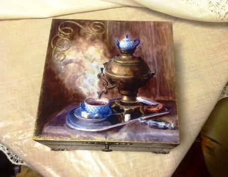 """Короб для чая """"Мужское чаепитие"""" ручной работы на заказ"""