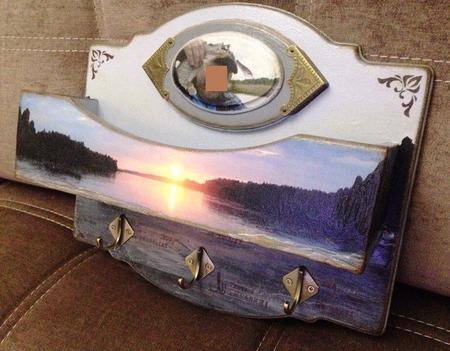 """Ключница с карманом для документов """"Подарок для супер-рыбака"""" ручной работы на заказ"""