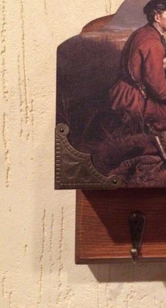 """Ключница с карманом для документов """"Охотники на привале"""" ручной работы на заказ"""