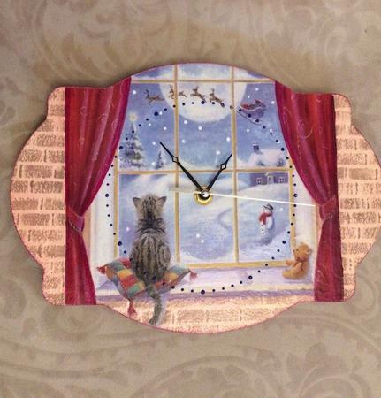 """Часы в детскую комнату """"Новогодняя сказка"""" ручной работы на заказ"""