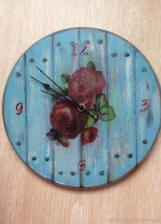 """Набор для кухни """"Кантри"""" (часы+вешалка для полотенец) ручной работы на заказ"""