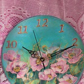 """Часы настенные ручной работы """"Шелковый букет"""" (2)"""
