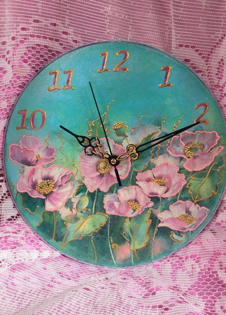 """Часы настенные ручной работы """"Шелковый букет"""" (2) ручной работы на заказ"""