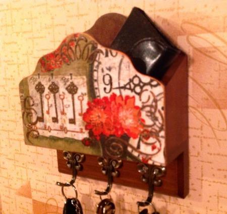 """Ключница с карманом для документов """"Ключи от дома"""" ручной работы на заказ"""