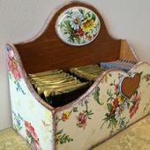 """Открытый короб для чайных пакетиков """"Полевые цветы"""""""