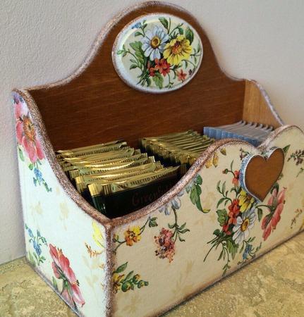"""Открытый короб для чайных пакетиков """"Полевые цветы"""" ручной работы на заказ"""