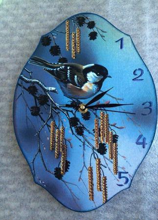 """Часы настенные """"Весенние трели"""" ручной работы на заказ"""