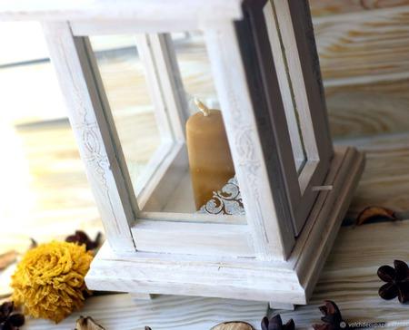 Фонарь-подсвечник винтажный белый ручной работы на заказ