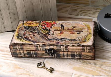 Шкатулка Большой улов купюрница подарок рыбаку ручной работы на заказ