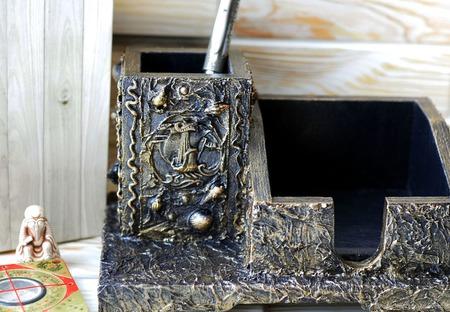 Настольный органайзер Морской берег подарок мужчине ручной работы на заказ