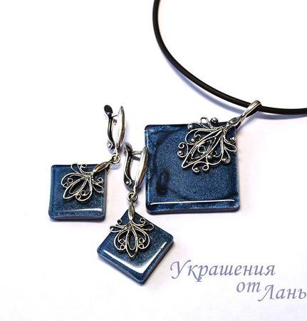 Комплект украшений Синий бархат ювелирная смола ручной работы на заказ