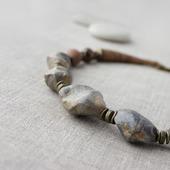 Колье стильное из древних окаменелых ракушек Индира