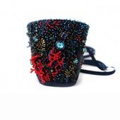 Браслет текстильный с вышивкой и Сваровски Тайны морских глубин