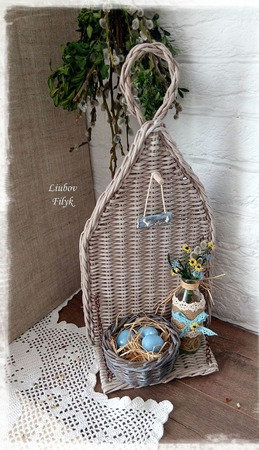 Полка плетеная настенная декоративная 'Ma belle maison' ручной работы на заказ