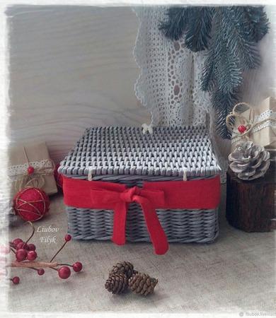 Короб плетеный Рождественские подарки ручной работы на заказ