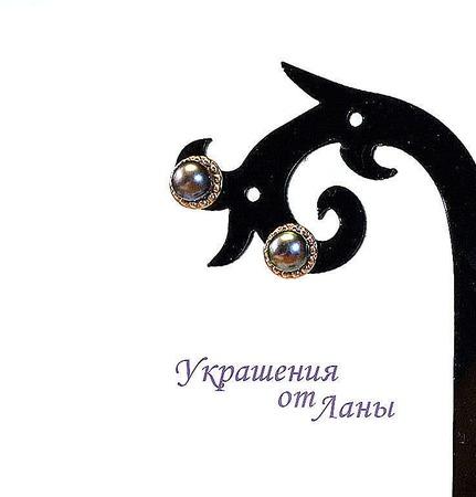 Серьги с черным жемчугом позолота ручной работы на заказ